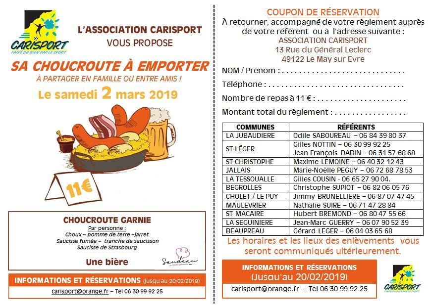 OPERATION CARISPORT - Choucroute  à emporter